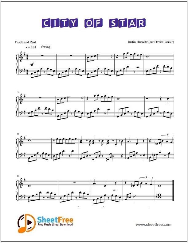 City of Stars Piano Sheet Music