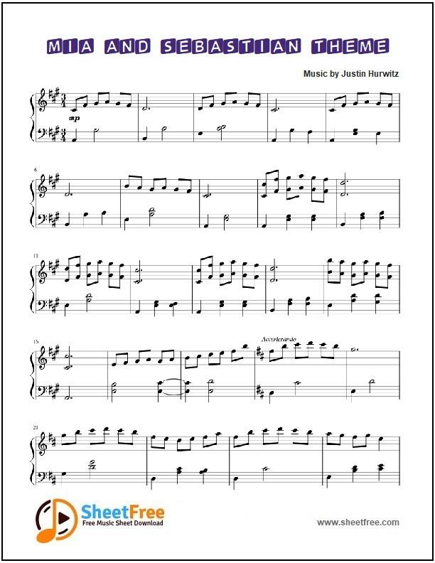 Mia and Sebastian's Theme Piano Sheet Music