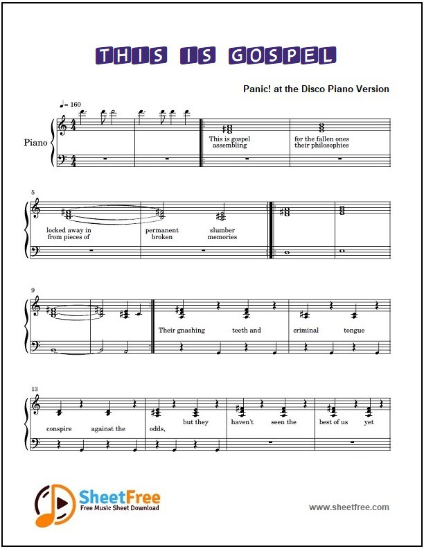This is Gospel Piano Sheet Music