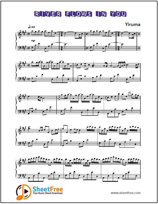 River Flows In You Piano Sheet Music