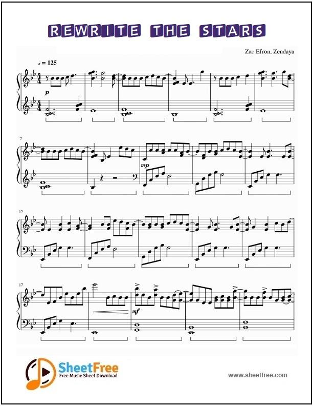 Rewrite The Stars Piano Sheet Music