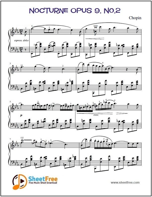 Nocturne Opus 9. No.2 Piano Sheet Music
