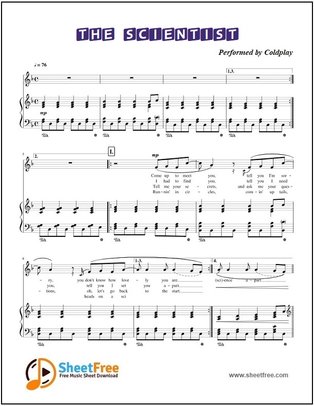 The Scientist Piano Sheet Music