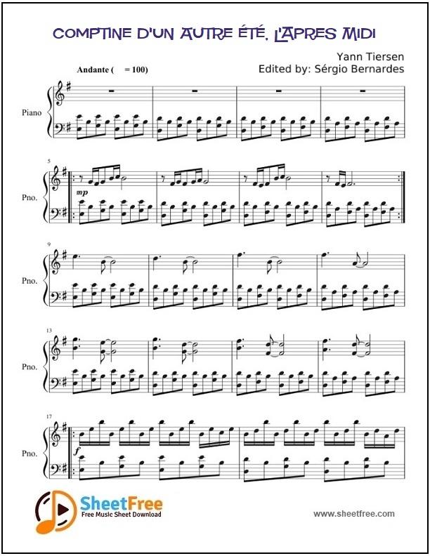 Comptine d'un Autre été, L'apres Midi Piano Sheet Music